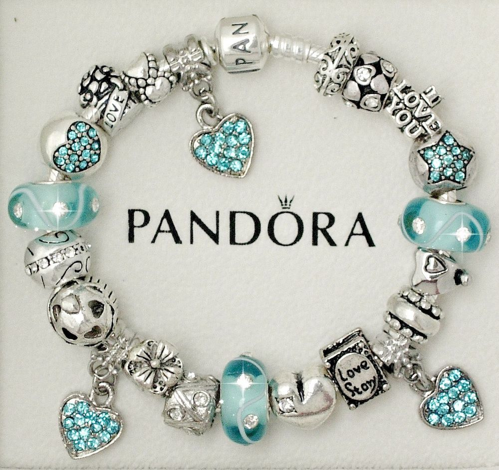 Authentic Pandora Sterling Silver Bracelet Aquamarine Heart Love European  Charms