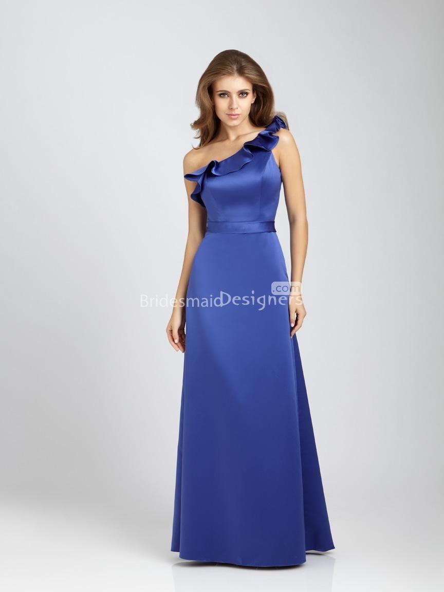 Luxury royal blue ruffled one shoulder long aline satin bridesmaid