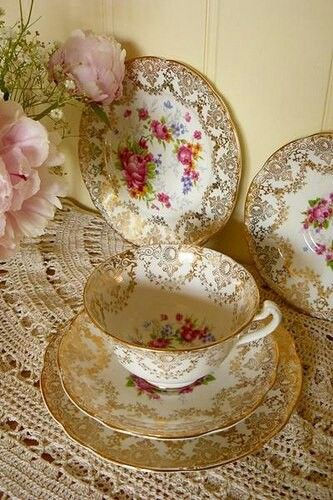 beautiful pink and gold vintage china.....