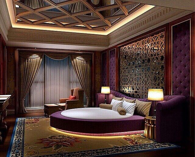 elegant purple theme for bedroom design ideas with luxury purple | Royal circular bed accompanied with purple fabric finish ...