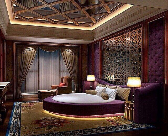 Royal Circular Bed Accompanied With Purple Fabric Finish