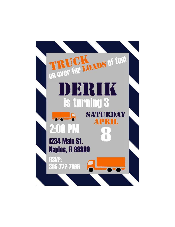 Big Rig Semi Truck Birthday Party Invitations Truck party t