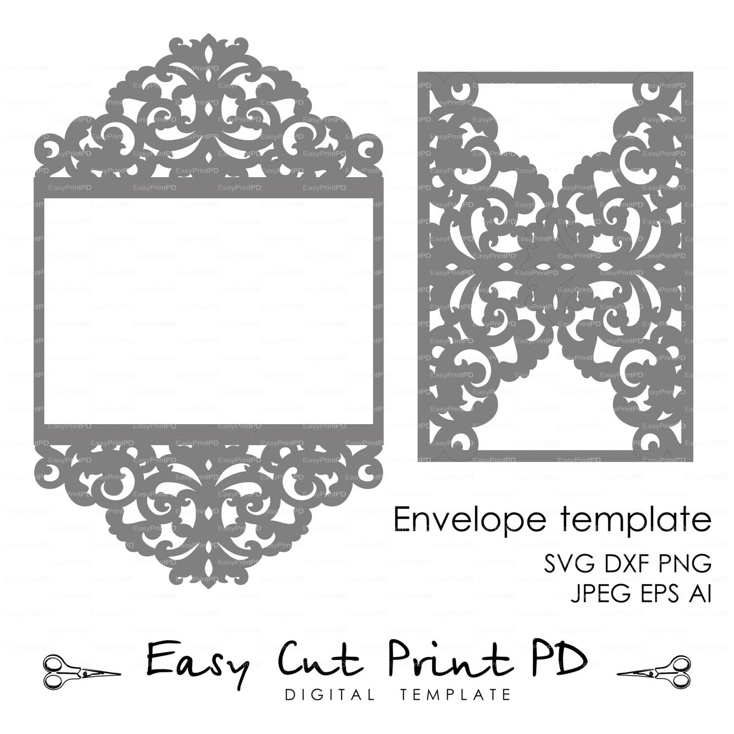 "Wedding invitation Pattern Card 5x7"" Template Lace folds studio"