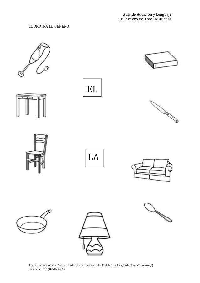 coordina el g nero y el n mero al speech language therapy spanish worksheets speech language. Black Bedroom Furniture Sets. Home Design Ideas