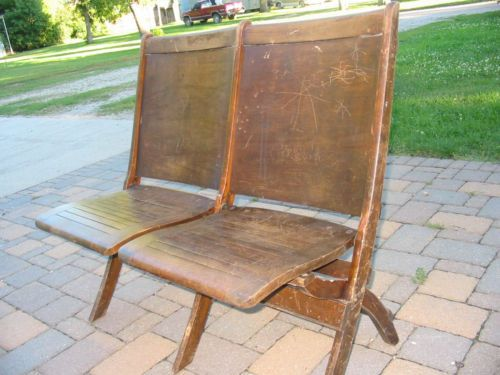 Antique Double Folding Wood Theater Chairs Auditorium Old School Seating  Vintage - Antique Double Folding Wood Theater Chairs Auditorium Old School