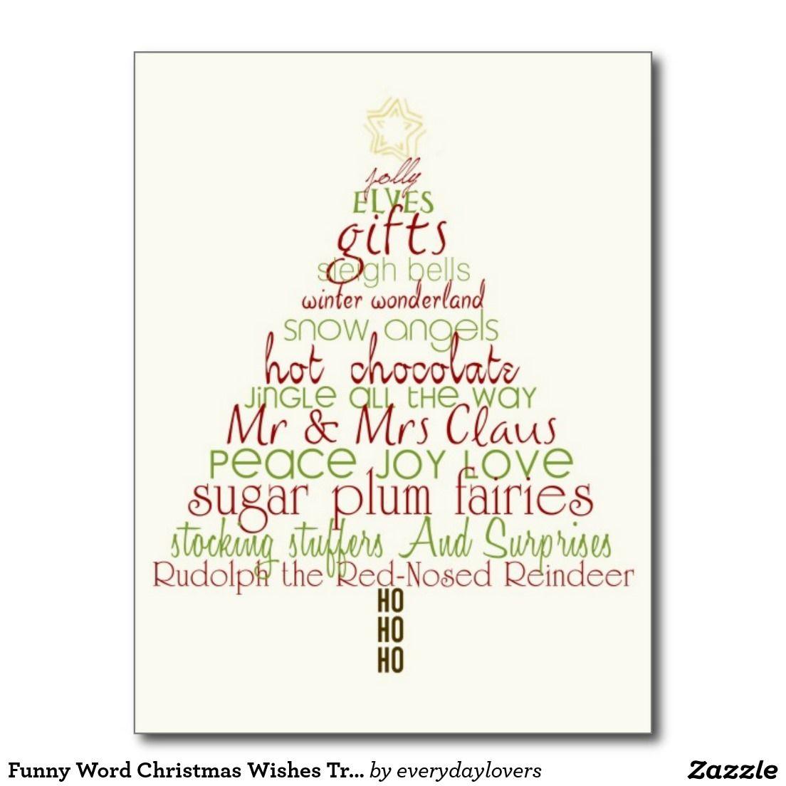 Funny Word Christmas Wishes Tree Postcard