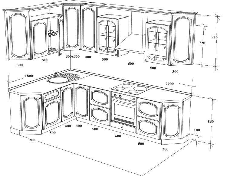 стандартные размеры кухонных шкафов чертежи   Деревообработка ...