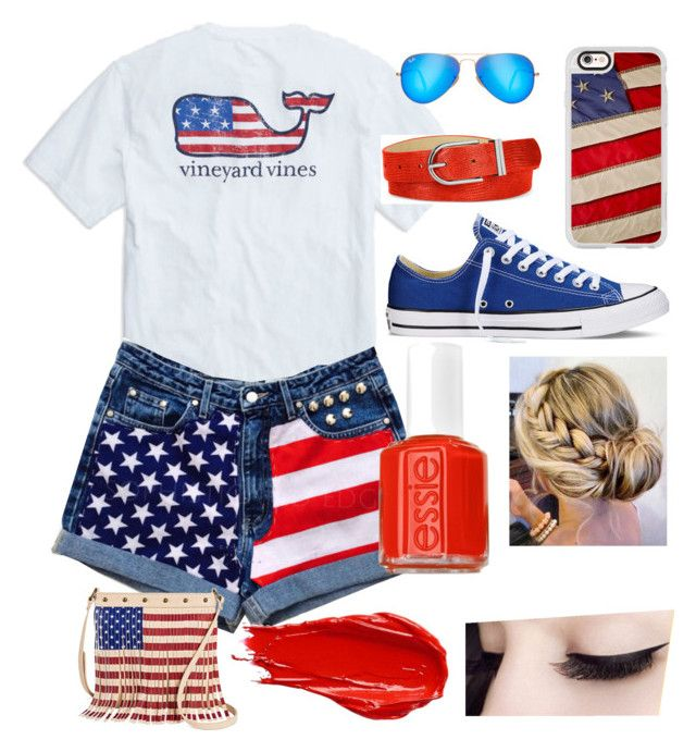 """4th of July Spirit!!"" by dharshinisridharan ❤ liked on Polyvore featuring Converse, Casetify, Ray-Ban, Style & Co., TWIG & ARROW, Urban Decay and Essie"