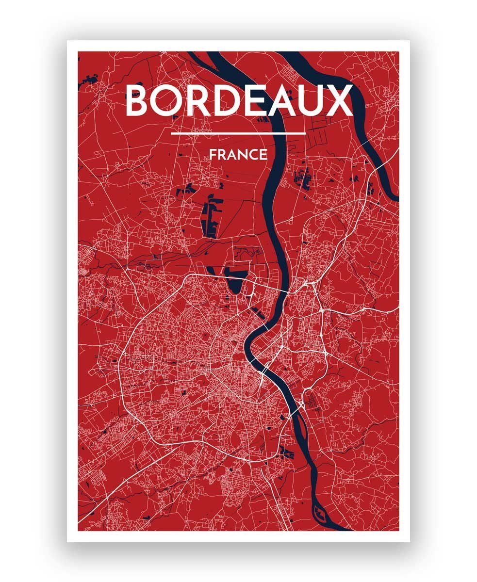 Bordeaux Map Art Products Pinterest