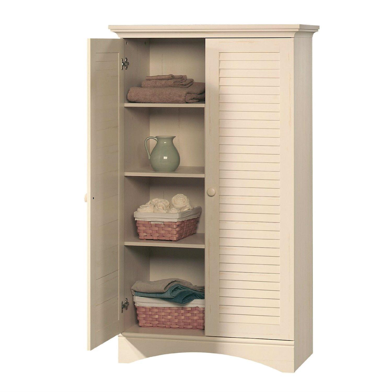 Louver 2 Door Storage Cabinet Bed Bath Armoire Wardrobe in Antique White