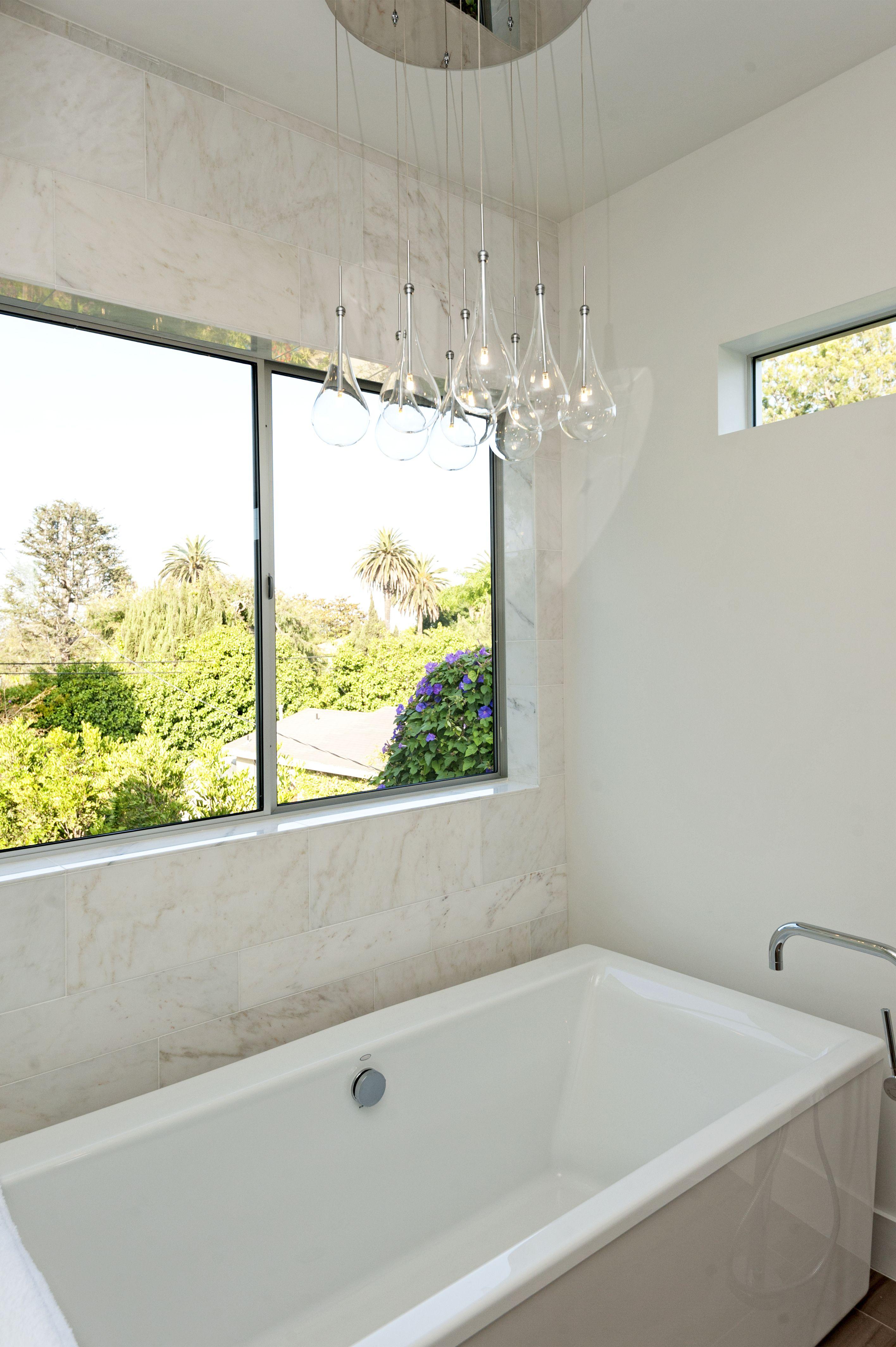 Transitional Style Bathroom With 9 Light Multi Pendant Above Bathtub Wegotlites 574 20 Www Wegotlites Net Bathroom Styling Bathroom Light Fixtures Et2