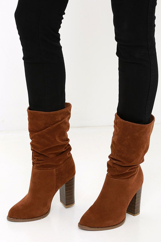 Women Fashion Platform Block Heels Mid Boots Slouch
