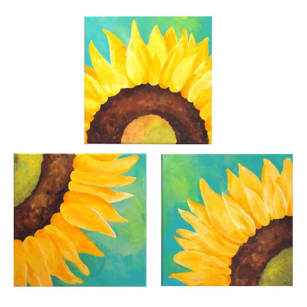SUNFLOWERS ON TEAL, Set of 3 12x12 Abstract Paintings, Home and ...