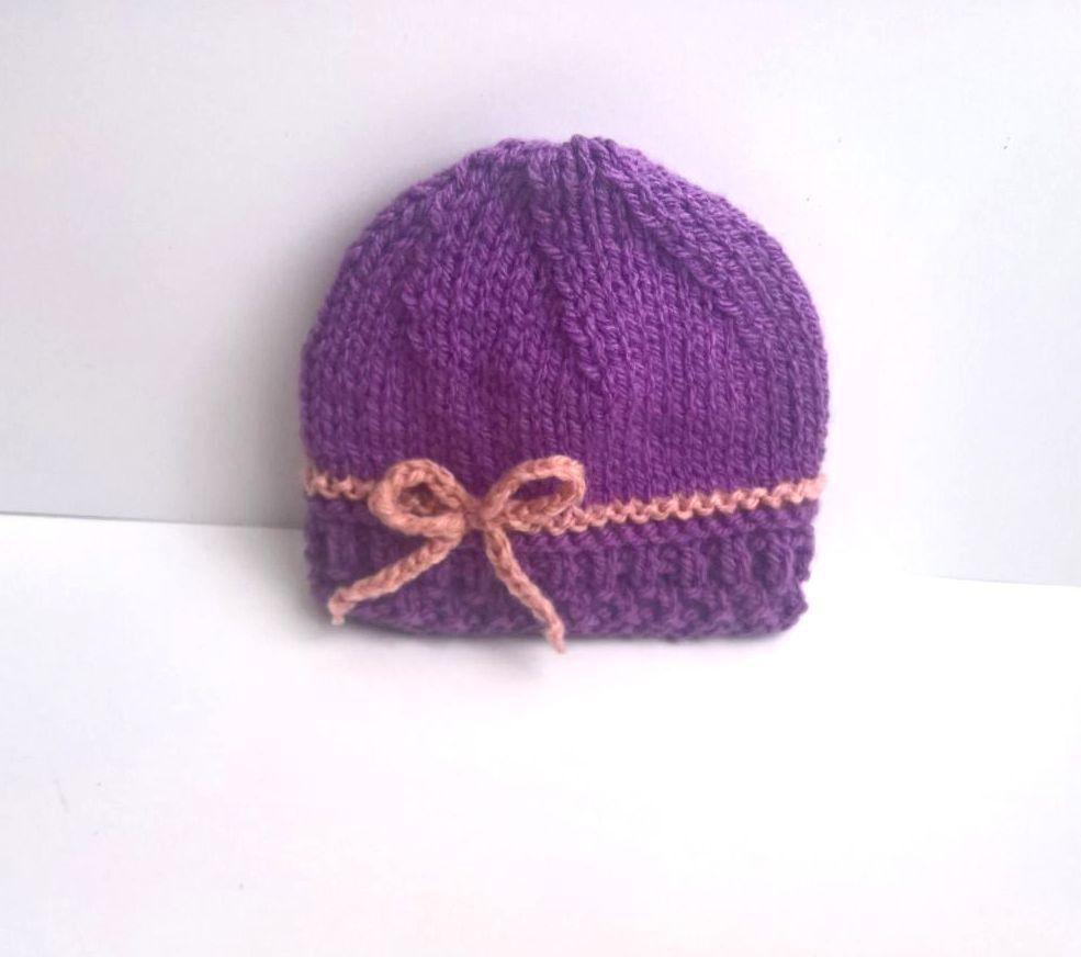 BONNET bébé tricoté main 0 3 ou 3 6 mois laine violet vieux rose layette  Sweet-creas   Mode Bébé par sweet-creas 83ef122e24f