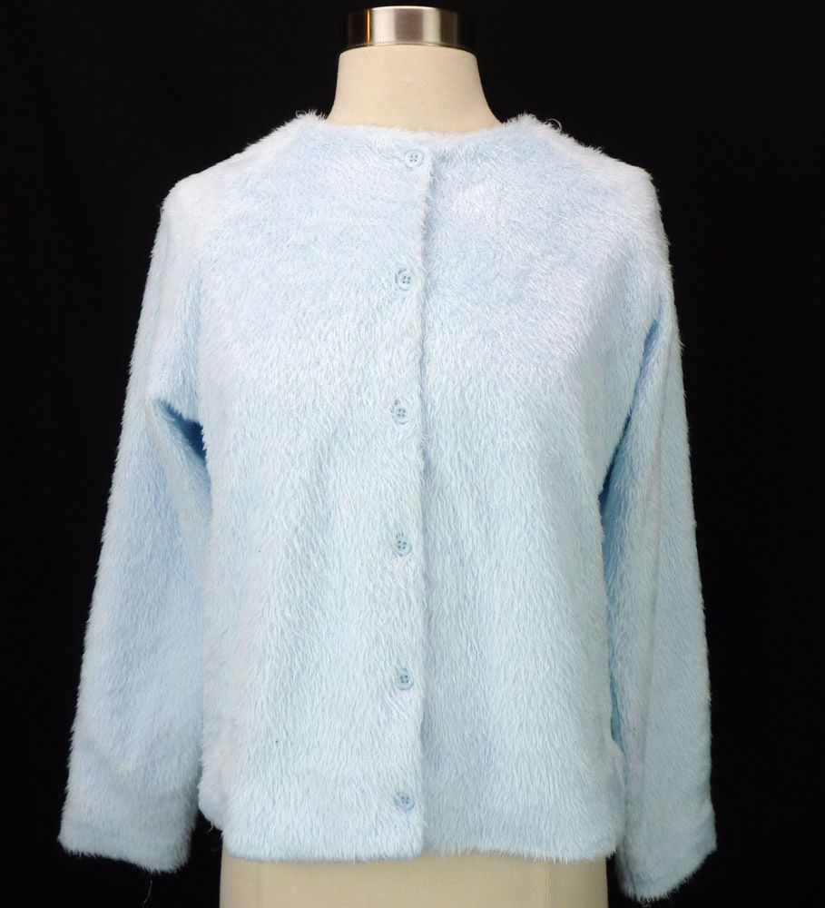 Hanna Andersson Light Blue FURRY Fuzzy Cardigan Pinup Sweater ...