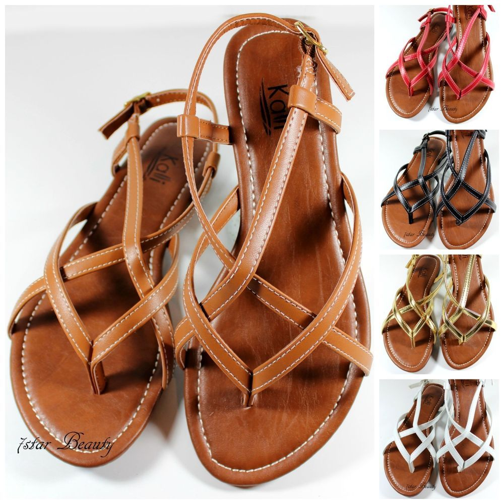 a33751de2354 New Women Gladiator Flat Sandal T-strap Thong Flip Flops Style Shoes 7-11  Size  Gladiator