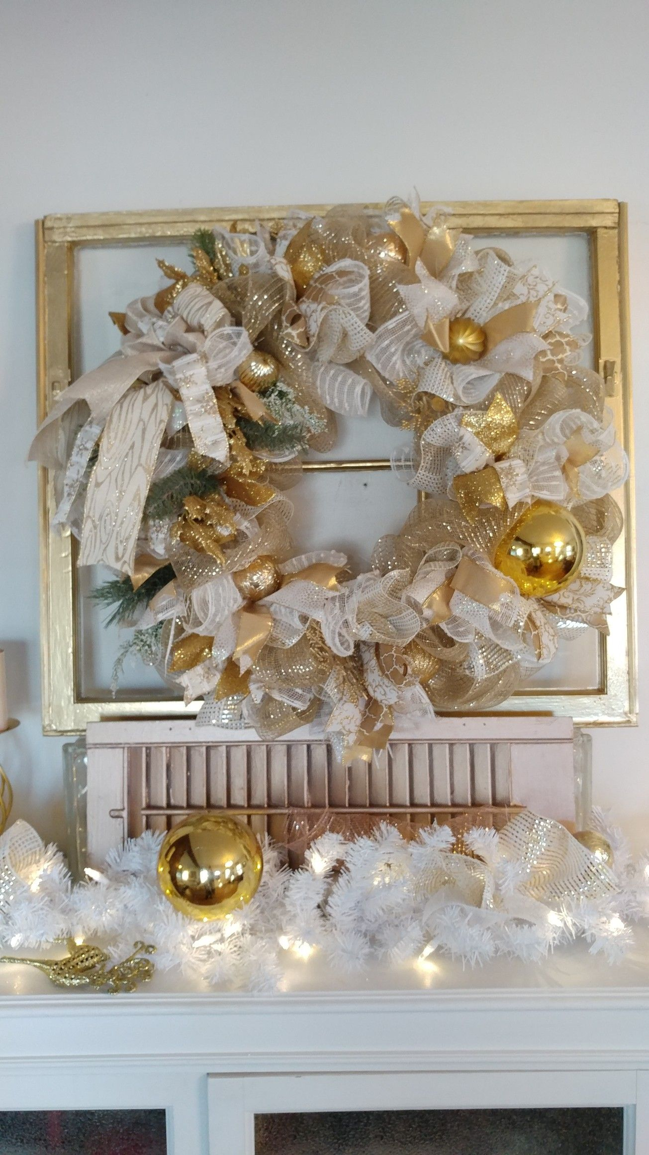 Gold Christmas wreath Wasted Treasures My Wreaths