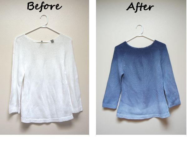 How to make your own dip-dye ombre sweater. This would be cool for a throw blanket too!