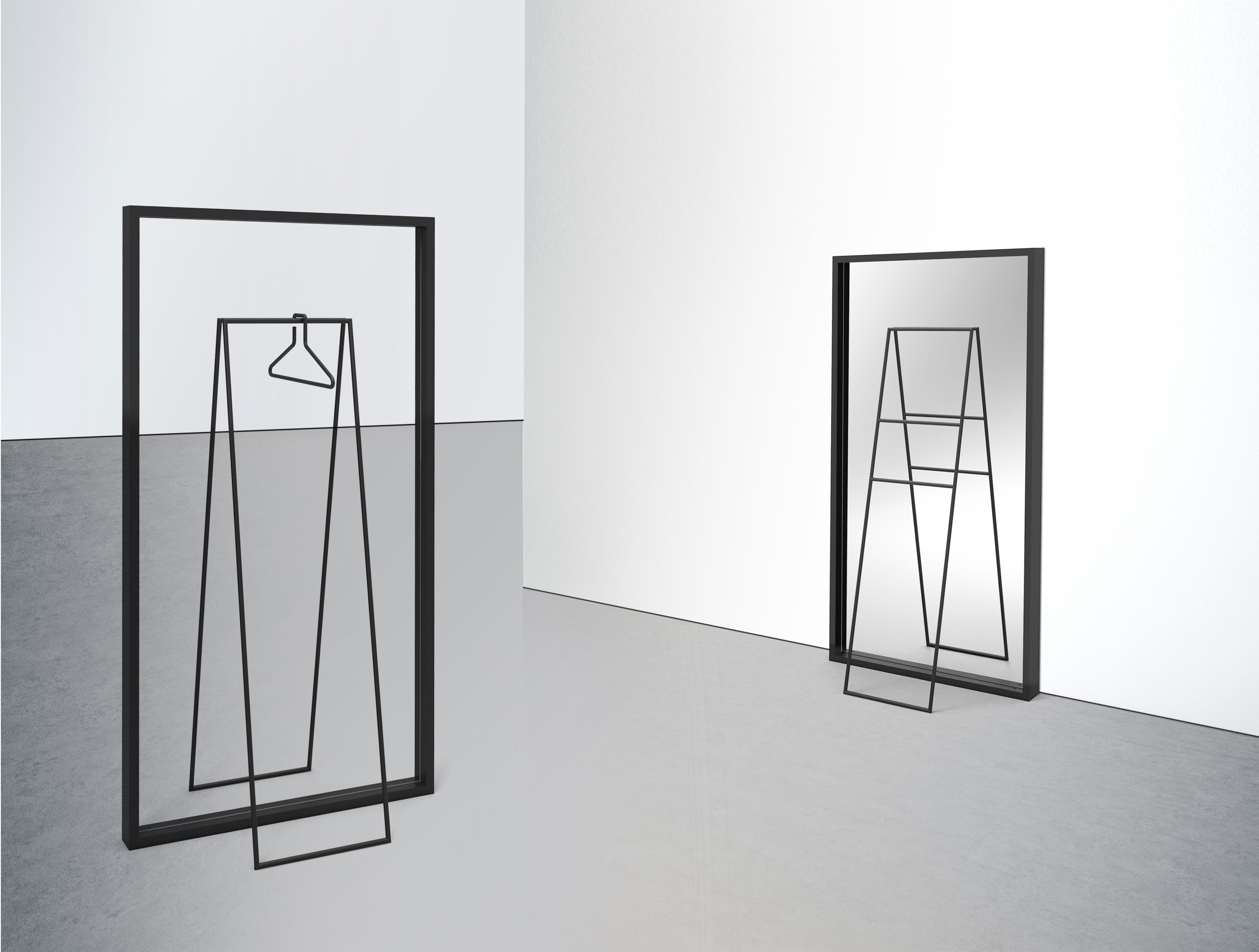 SPIEGELBILD A rack with an optical illusion #rack #interior #transparent #mirror #metal #designwithastory #illusion