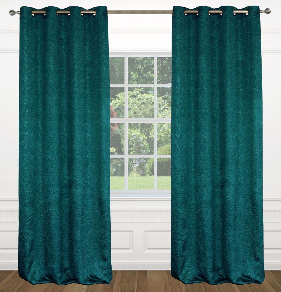 Raindrops Abstract Floral Crushed Fabric Grommet Curtain