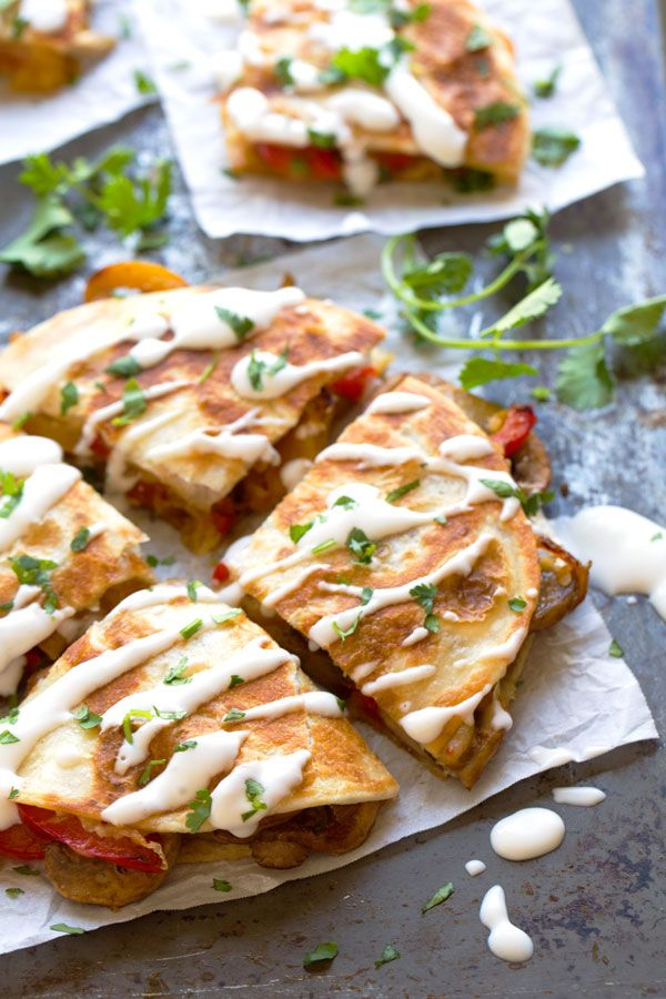 Smoked Gouda Mushroom Quesadilla - quick, easy, and colorful! Hits the spot every. single. time. | pinchofyum.com