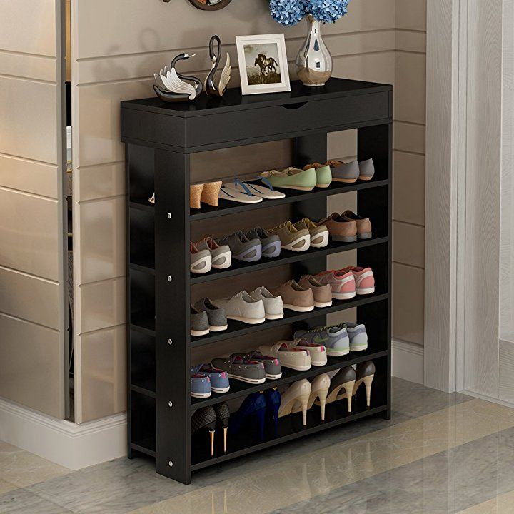 Soges Shoe Racks Solid Wood Shoe Storage Shelf Organizer 5 Tiers