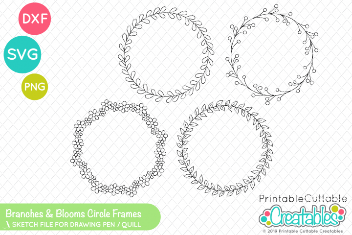 photograph about Printable Cuttable Creatables identified as Branches Blooms Circle Body One Line SVG Offer Foil