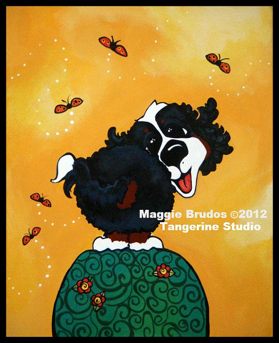 puppy Bernese Mountain  dog Whimsical cute butt by tangerinestudio, $45.00