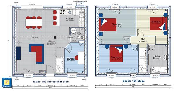 Plan de construction de forme carr e avec un tage et 3 for Plan maison 1 etage