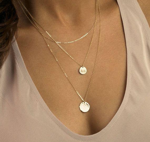 grande vendita vendite speciali così economico Gold Layered Necklaces / Initial Disk Necklace Set of 3 ...