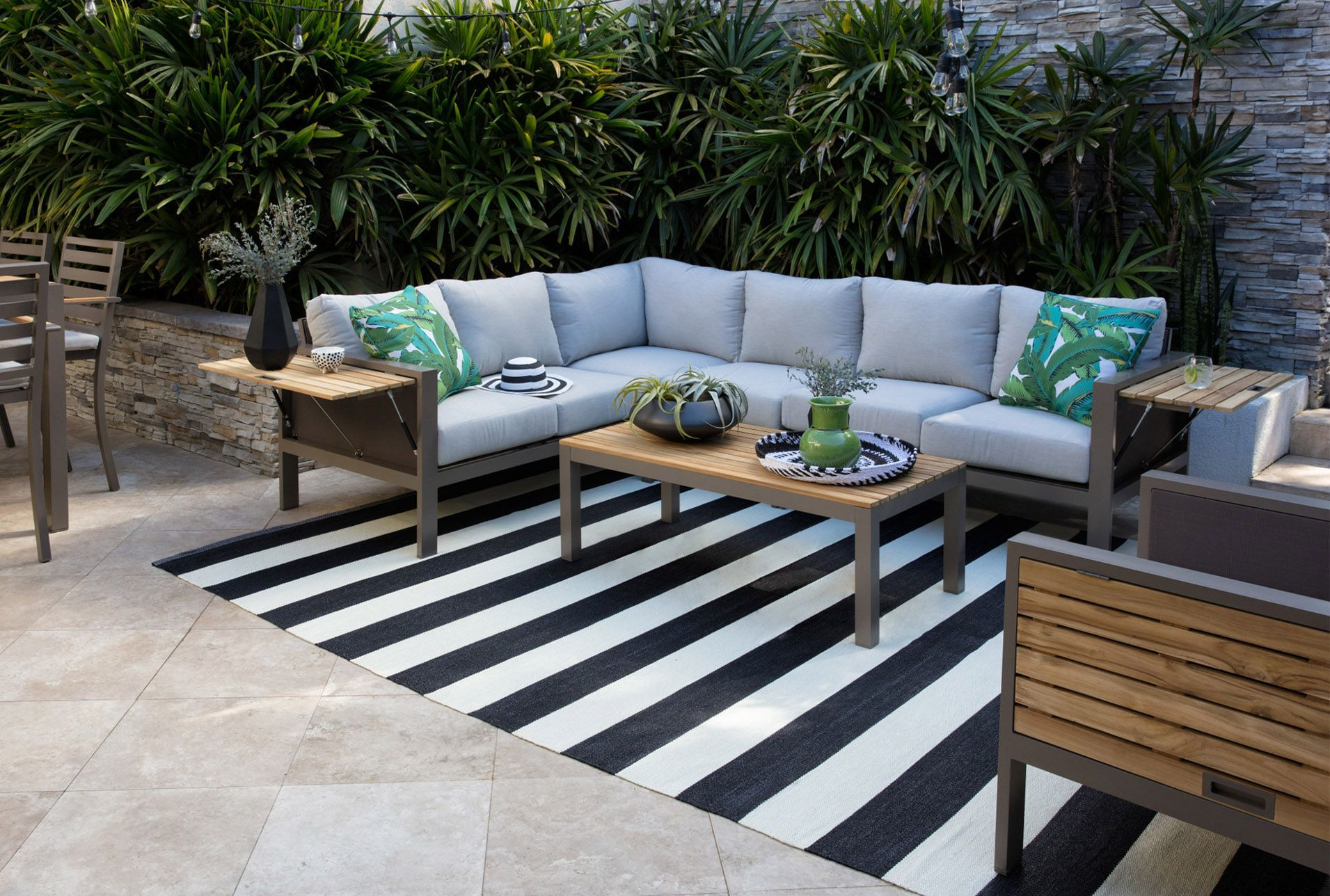 96x132 Outdoor Rug Black White Cabana Stripe In 2020 Patio Decor Outdoor Rugs Cheap Patio Furniture
