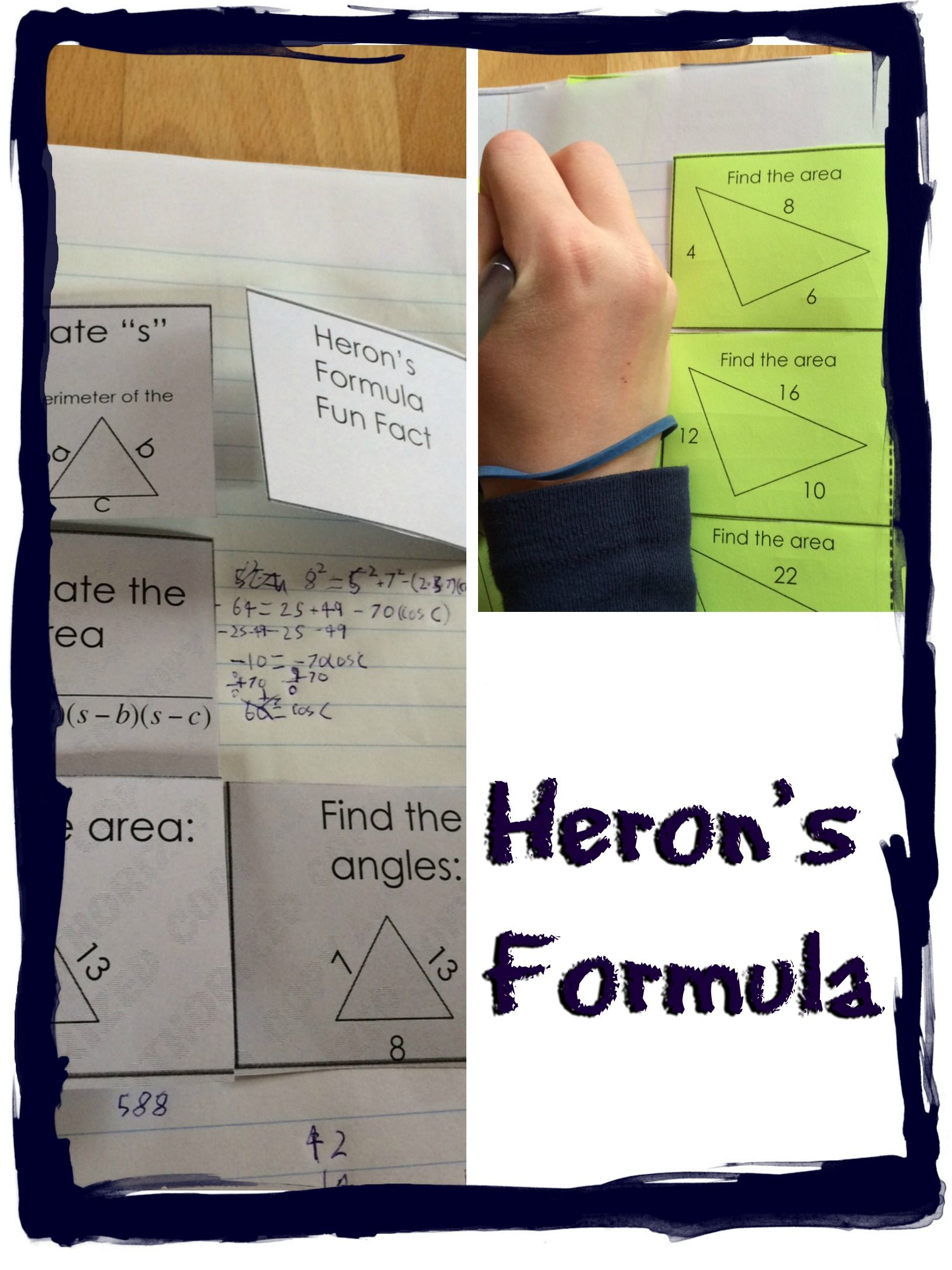 Solving area of non-right triangles color-coded interactive notebook ...