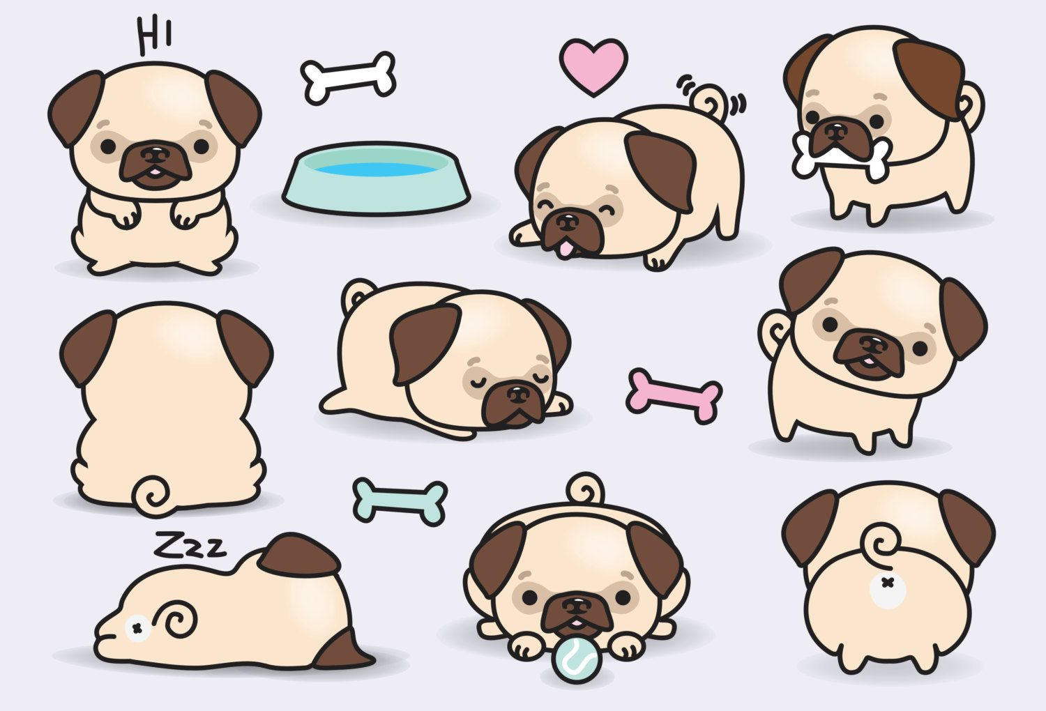 High Quality Vector Clipart Cute Pugs Vector Clip Art Perfect