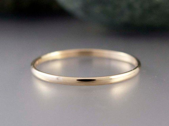 14k Gold Thin Wedding Band Solid Yellow Gold Thin Wedding Bands Plain Gold Wedding Bands Plain Wedding Band