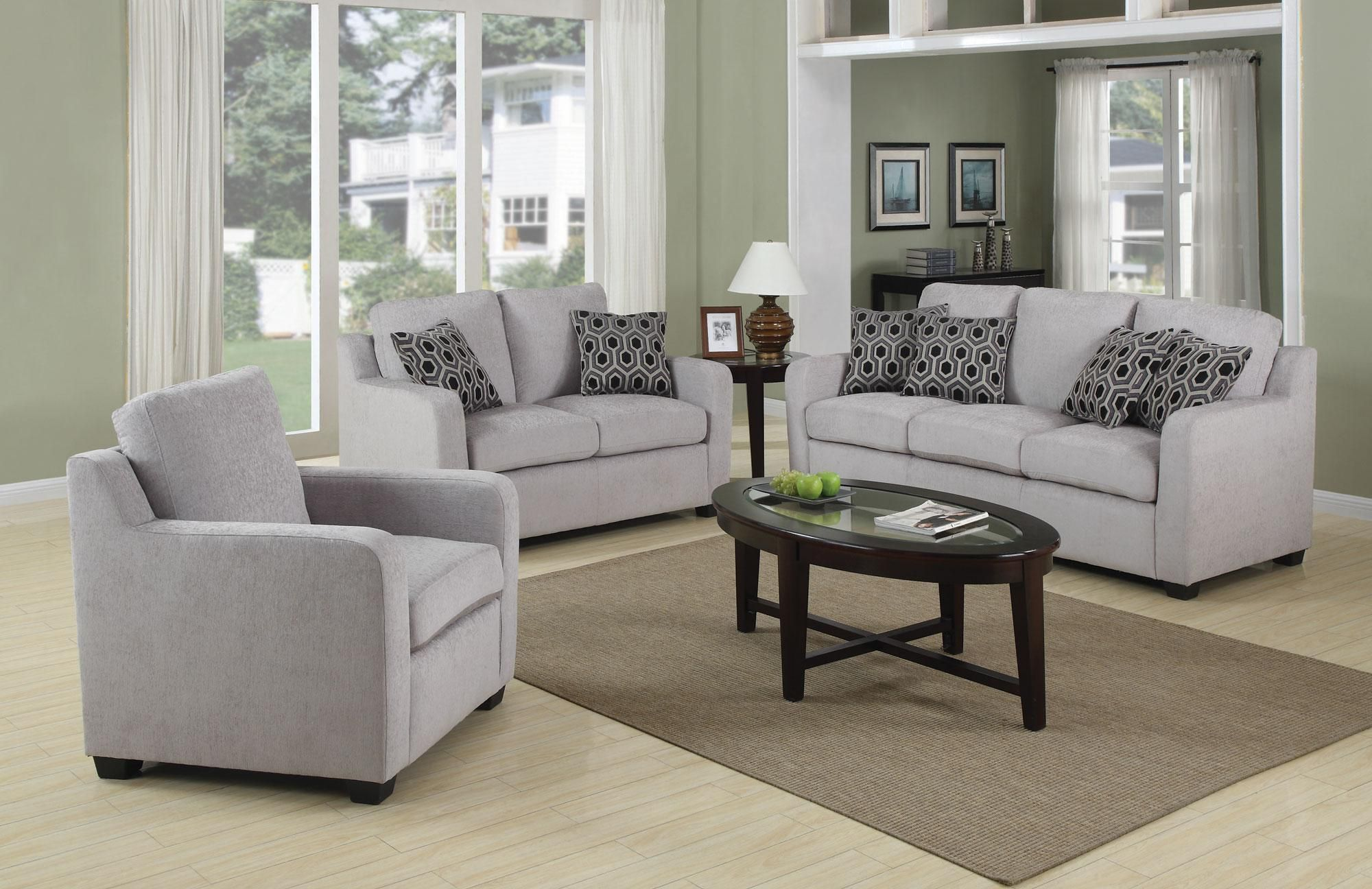 Charlotte Transitional Chenille Grey Sofa With Modern Accent Pillows Coaster And Chair Or Loveseat Living Room Chairs
