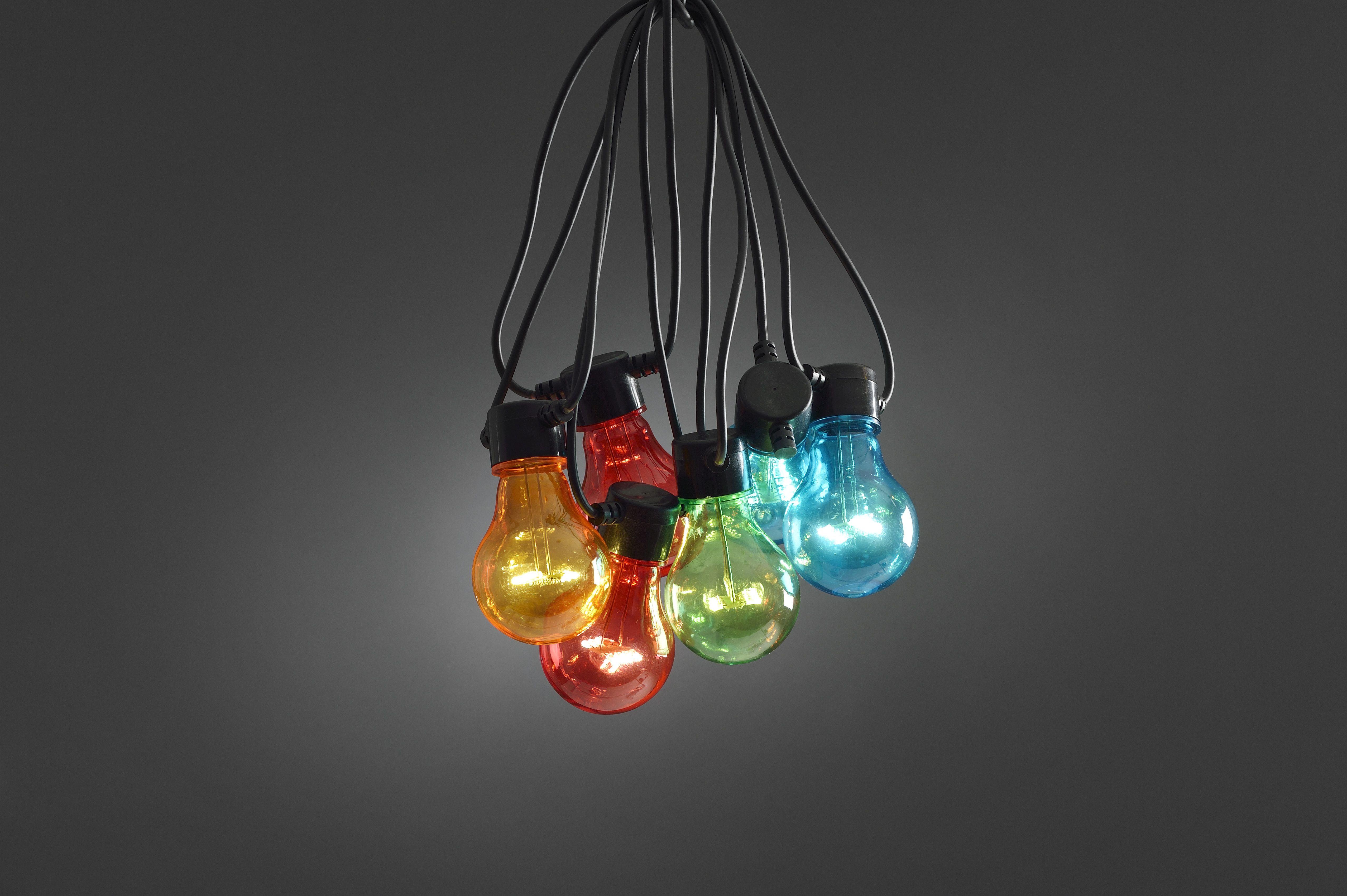 Party LED verlichting zwarte kabel 10 multicolor LED lampen | Vier ...