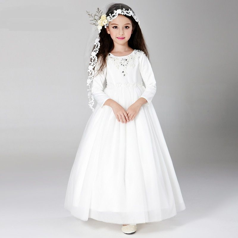 Flower Girl Dress 2016 Children White Lace Long Sleeve Princess
