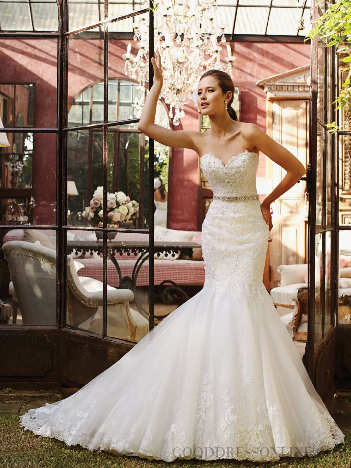 Fabulous Trumpet / Mermaid Cathedral Train Sweetheart Tulle Wedding Dresses