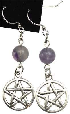 Fluorite Pentagram earrings