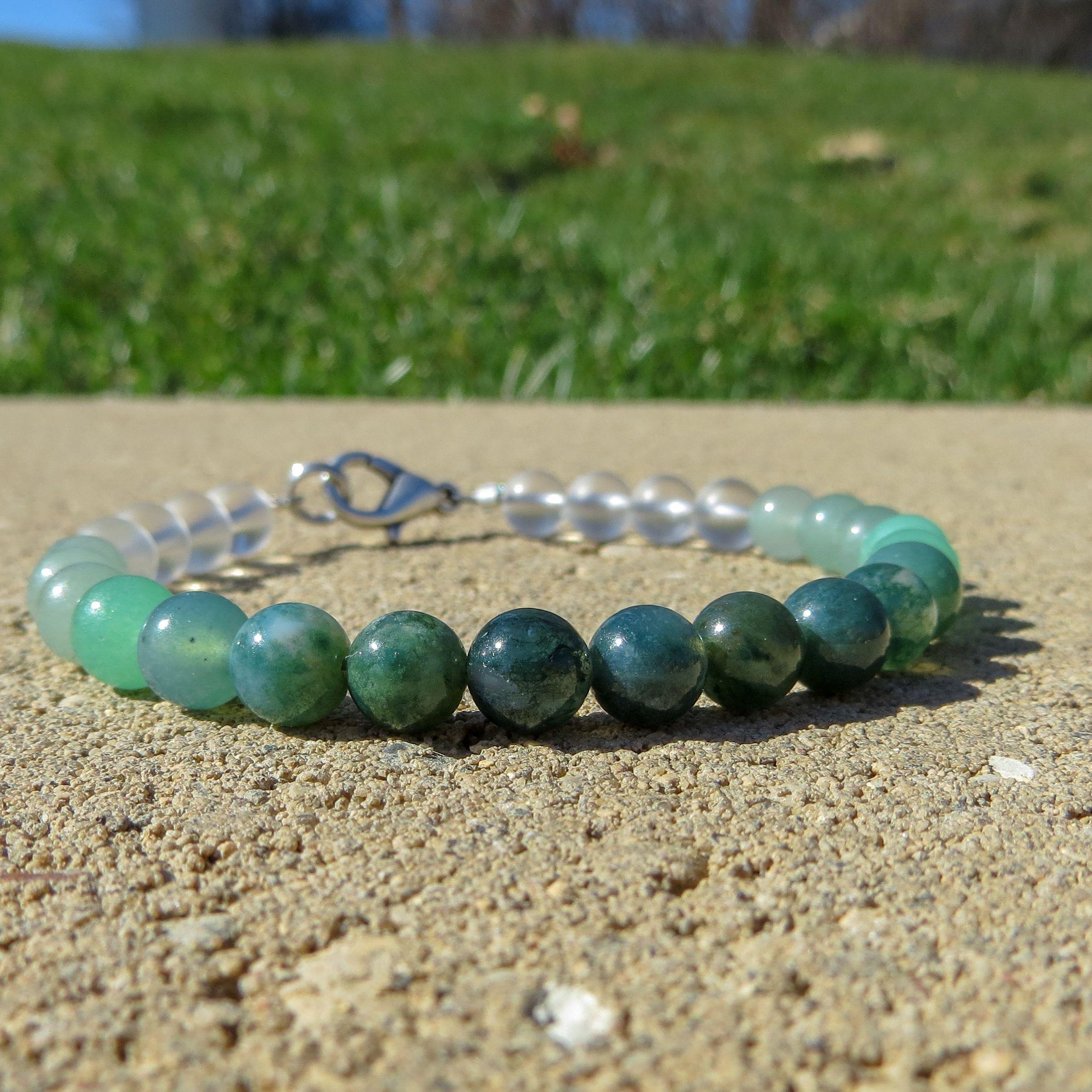 agate bead bracelet ladies birthday gifts green stone bracelet moss agate beads green gemstone bracelet green agate bracelet