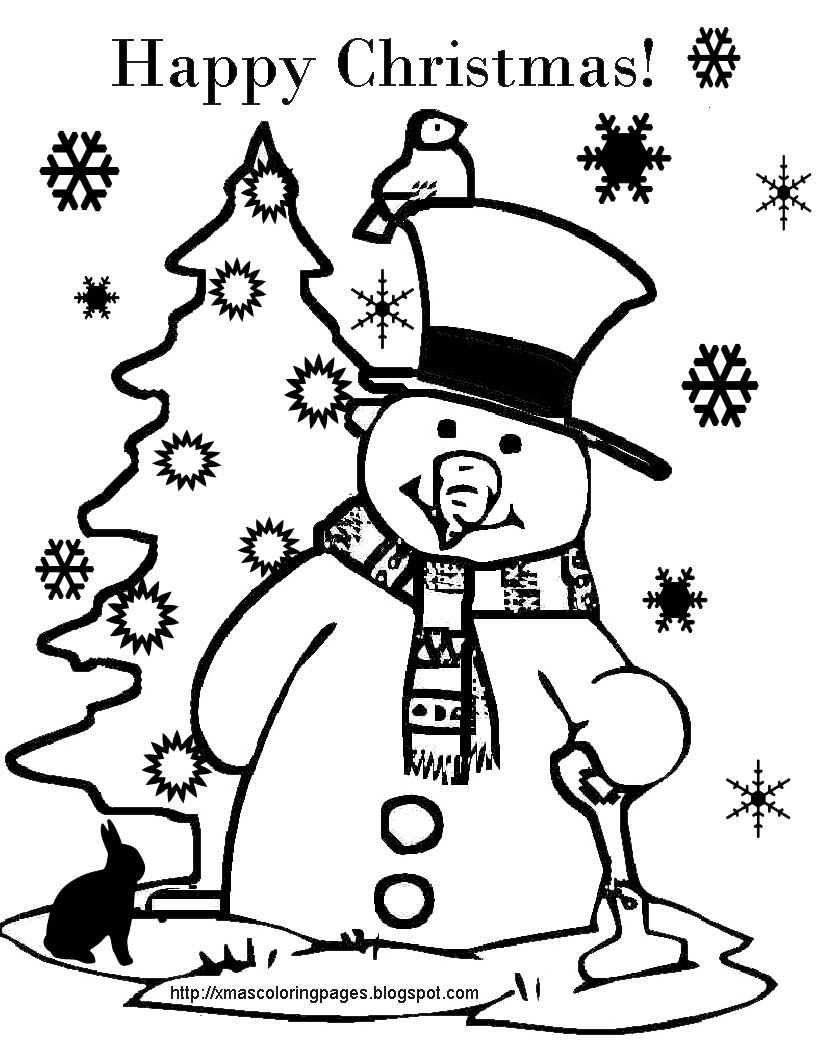 Hundreds Of Free Printable Xmas Coloring Pages And Xmas Activity Sheets For Children Of All Ages Happy Snowman Coloring Pages Coloring Pages Christmas Colors