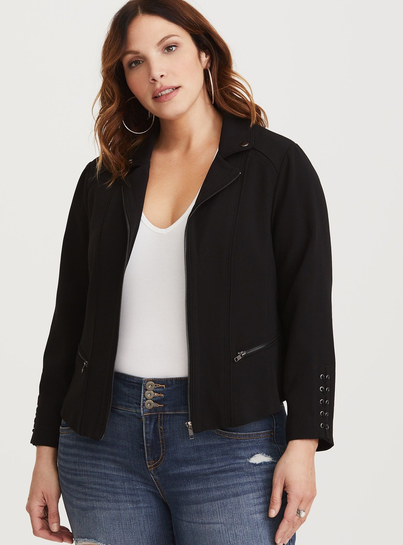 Black Lattice Crepe Moto Jacket (With images) Jackets