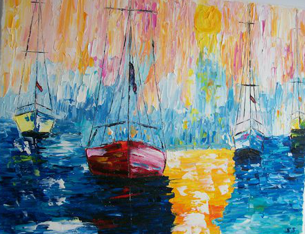 Boats at Sunset  11x 14  $150.00 Palette knife painting by Sue Schenck