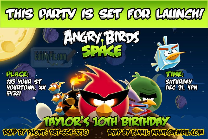Angry Birds Space Birthday Party Invitation At Http Editmypic