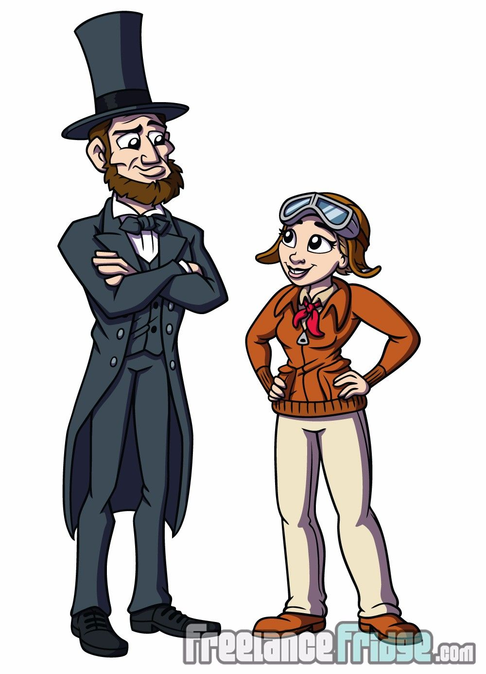 Abraham Lincoln Amelia Earhart Character Designs For Educational