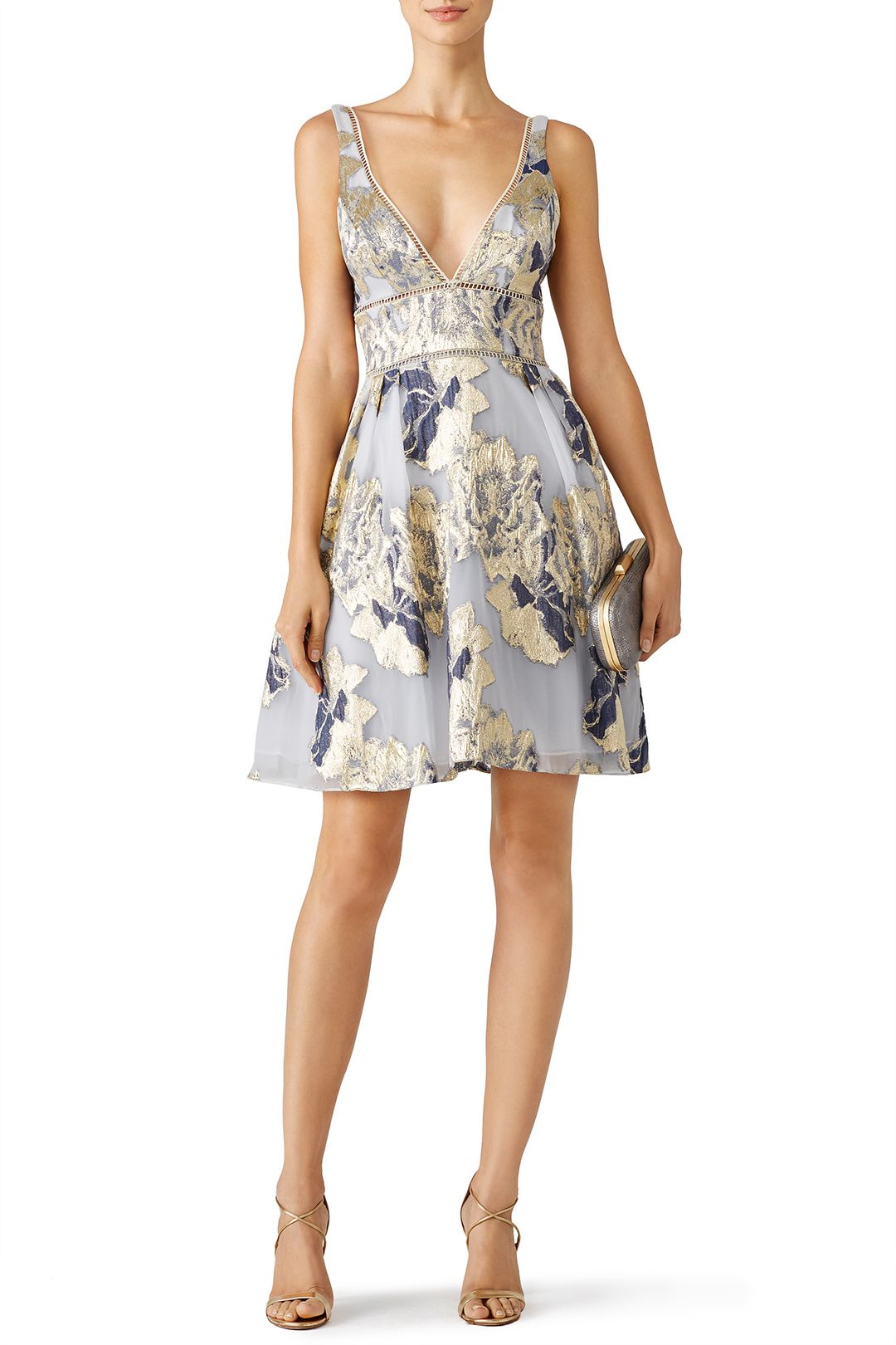 543d87bd5c Rent Metallic Floral Cocktail Dress by Marchesa Notte for $105 - $120 only  at Rent the Runway.