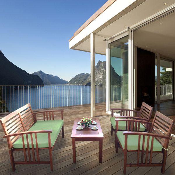 Buy Luxo Bahamas 4 Piece Eucalyptus Outdoor Sofa Set ... on Luxo Living Outdoor id=87641