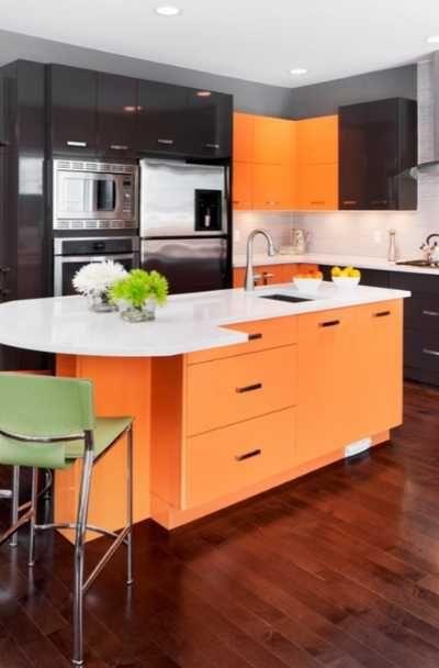 23 Orange Kitchen Cabinet Ideas in 2020   Orange kitchen ...