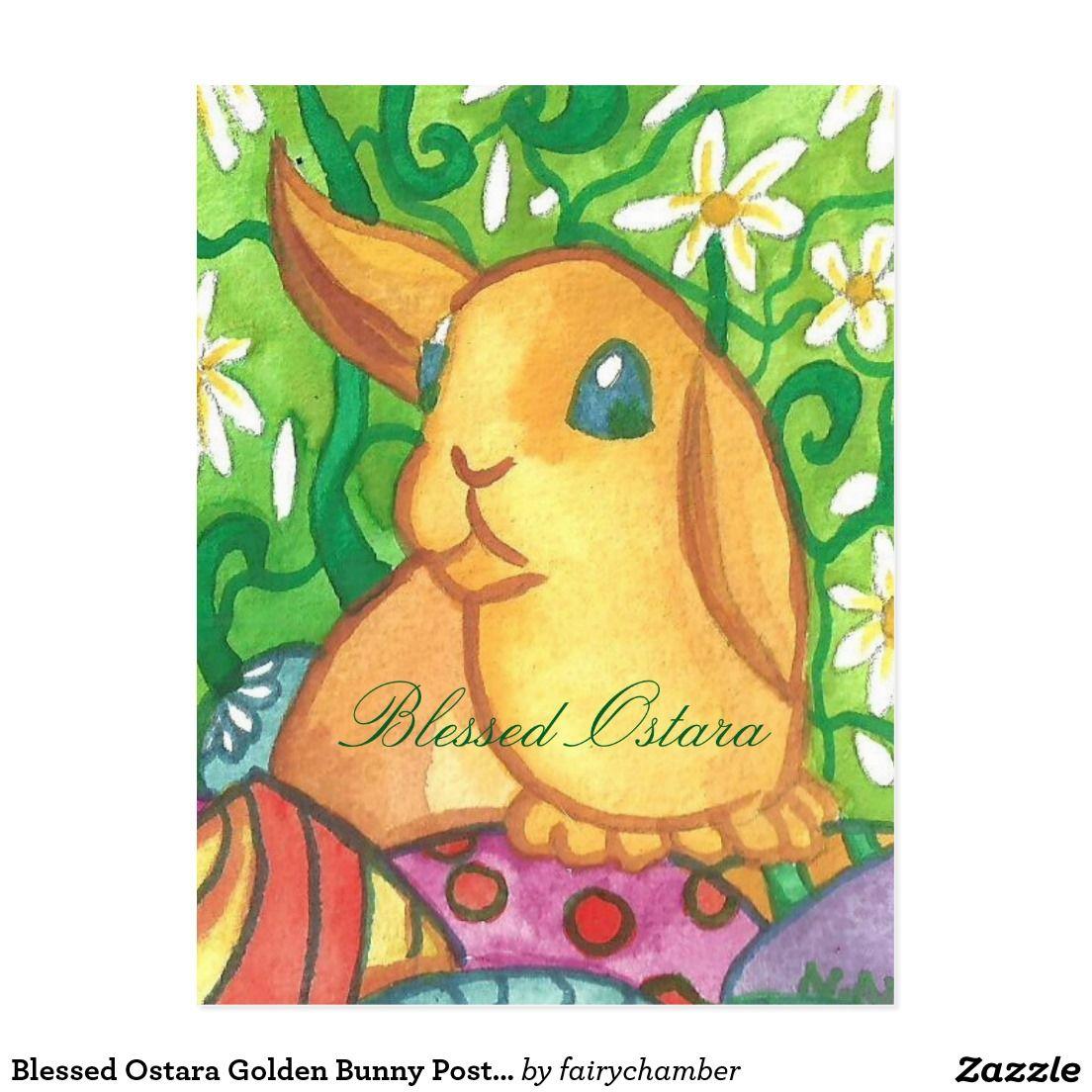 Blessed Ostara Golden Bunny Postcard | Art by Fairychamber | Pinterest