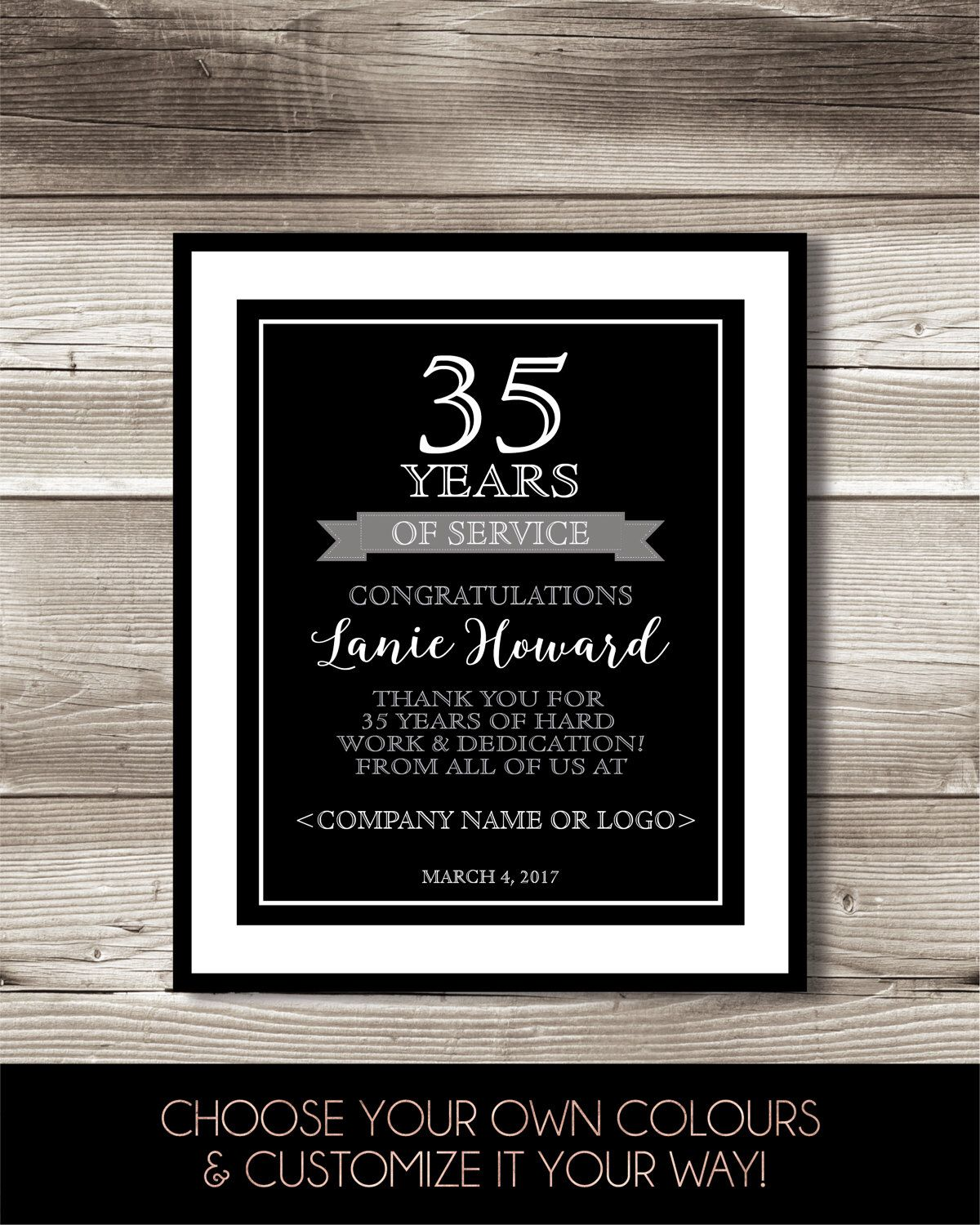 35 Year Work Anniversary Print 35th Work Anniversary Digital Print Personalized Thank You Gift Years Of Service Employee Recognition Work Anniversary Employee Recognition 10 Year Anniversary Gift